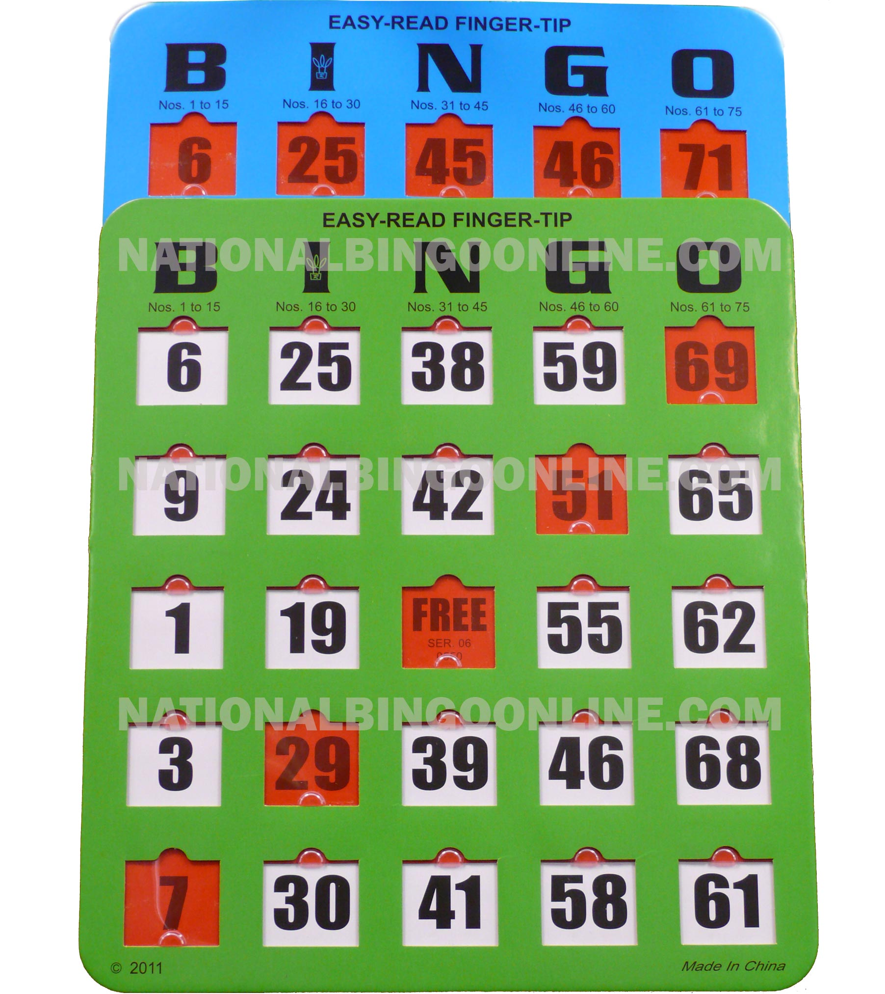 50 Pack Extra Large Number Finger-tip Bingo Cards